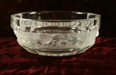 """Lalique Style French Art Deco Bohemian Frosted Glass Fruit Bowl  7.75"""""""