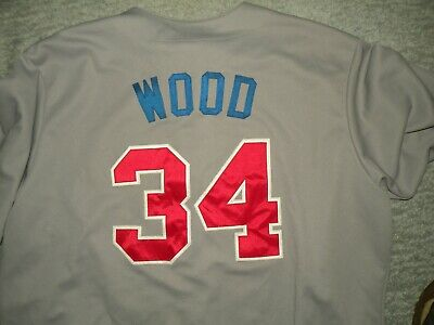 Mens Kerry Wood Chicago Cubs Size 2XL Sewn  Away Replica Jersey Majestic