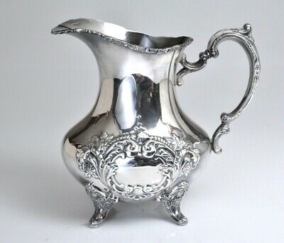 Vintage Hand Chased Silverplate Poole Water Pitcher Jug 601A