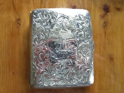 Antique Solid Silver Cigarette Case Chester 1907 J & R Griffin Edward V11 Era