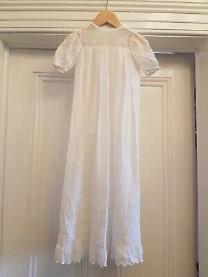Vintage Cotton Christening Gown With Embroidery To Front Neckline & Along Bottom