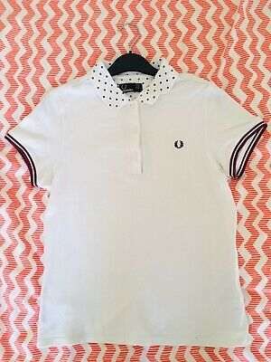 FRED PERRY WOMEN'S Navy Ringer Crew Neck T Shirt UK 10