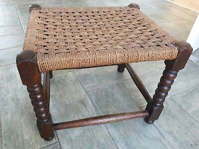 Vintage Rattan Weave Barley Twist Legged Foot Stool