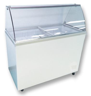 Elcold 60.70″ Curved Glass Sneeze Rail Dipping Cabinet (Nova-53) 10 Flavor