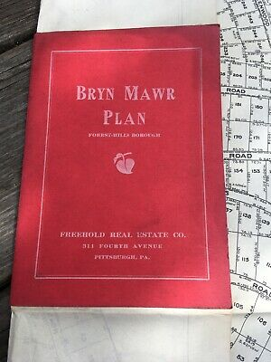FREEHOLD REAL ESTATE BOOKLET Antique MAP 1914 BRYN MAWR FARMS PA