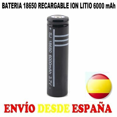 1x PILA 18650 BATERIA RECARGABLE 6000mAh 6000 LITIO LI-ION 3,7V POWERBANK VAPEO