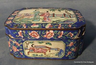 Antique Enameled Chinese Qing Dynasty Canton Enamel Box And Cover 19th Century