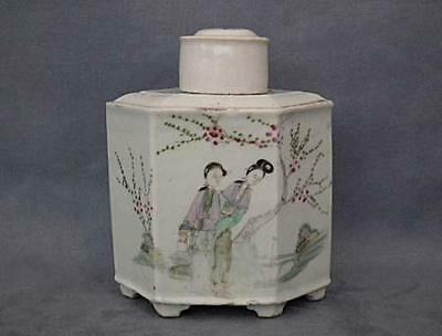 Antique Chinese Export Famille Rose Porcelain Tea Caddy Qing Dynasty19th century
