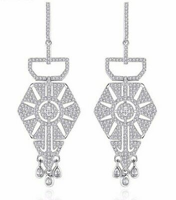White Gold Plated ART DECO STYLE Diamond Paste Drop CRYSTAL EARRINGS UK