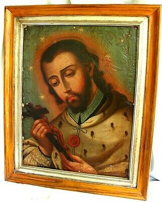 Antique Spanish Colonial Painting Of St John *18Th Century*