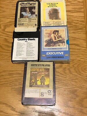 5 x 8 Track Tapes Country Music Bundle Job Lot - Tammy Wynette, Merle Haggard