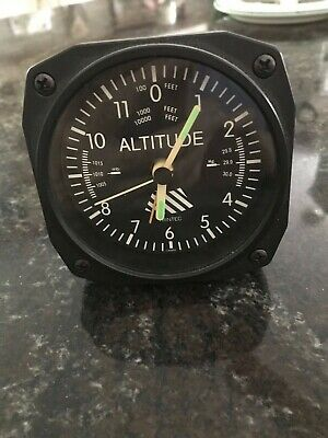 "New TRINTEC ALTIMETER 3.5/""  VINTAGE Altitude Aviation Travel Alarm Clock"
