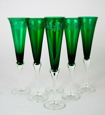 Lenox Holiday Gems Emerald Green Fluted Champagne Glasses Set of 6 Etched Holly