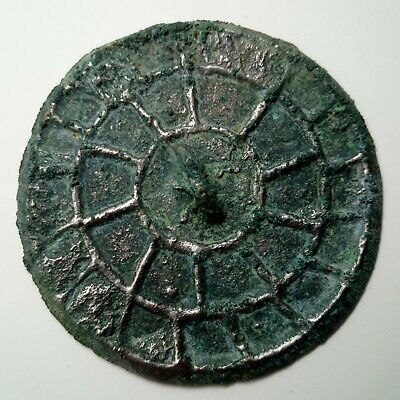 Bronze Mirror Pendant / Solar sign / Coin 67mm. Viking 300-400AD Celtic Scythian