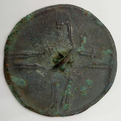 Bronze Mirror 52mm. Cross 100-600AD.Scythian / Viking Rare
