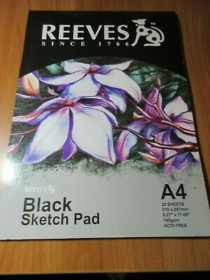 1 x Reeves A4 Black Paper Sketch Pad 140gsm 20 sheets  (HC)