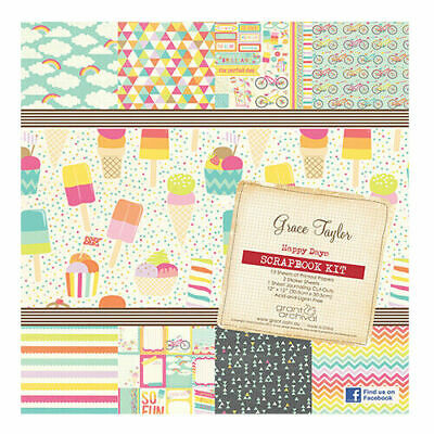 GRACE TAYLOR 12x12 Scrapbooking Kit SUMMER - Papers Stickers Journaling Cards