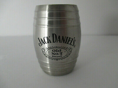 2007 Jack Daniels Steel Whiskey Barrel Shot Glass Old No 7 Stainless Man Cave