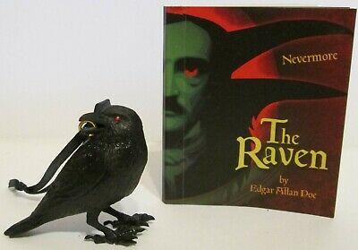 The Raven Black Bird Artistic Ornament & 48 Page Book with Poem Edgar Allan Poe
