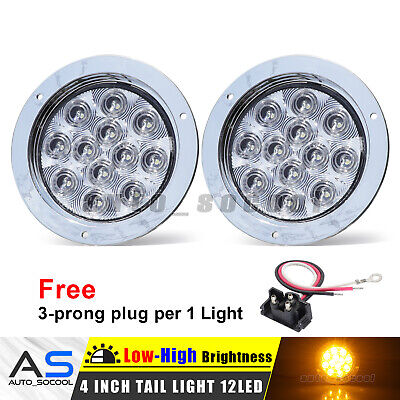 "2 X Surface Mount 4"" Round Clear / Amber 12 LED Turn Signal Tail Light 12V Lorry"