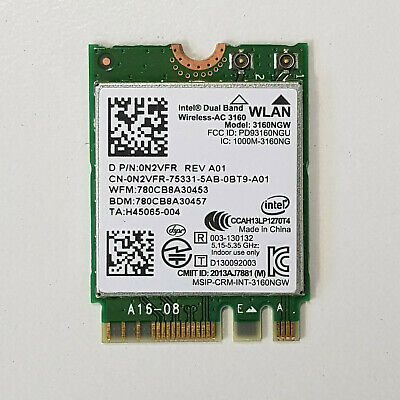Genuine Intel Dual Band WLAN Bluetooth 4.0 Wireless Card AC 3160 3160NGW 0N2VFR