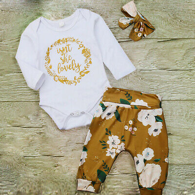 Newborn Infant Kids Baby Girls 3pcs Clothes Romper Tops Floral Pants Outfits Set