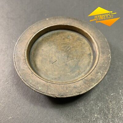 ANTIQUE c.1800's 1lb EARLY BRASS SCALE WEIGHT GOLD FUR TRADE APOTHECARY