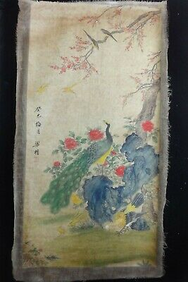 "Very Large Old Chinese Hand Painting Flowers and Peacock ""LiangKai"" Marks"