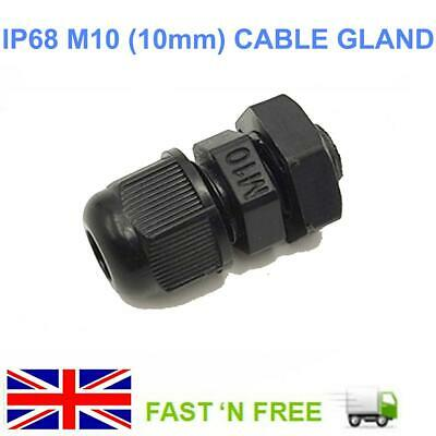 M10 Black Nylon Cable Gland Ip68  With Locknut & Washer For 3 To 6Mm Cable Dia.