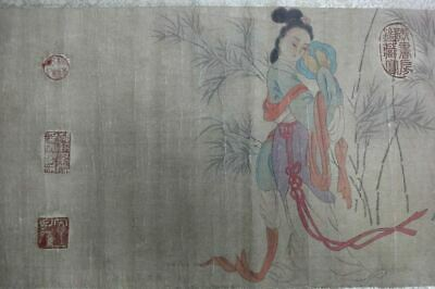 "Very Long Rare Old Chinese Scroll Hand Painting Women ""TangYin"" Marks"