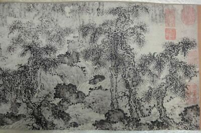 "Very Long Old Chinese Scroll Hand Painting Landscape Marked ""HeHao"""