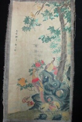 "Rare Large Old Chinese Hand Painting Flowers and Birds ""ZouYiGui"" Marks"