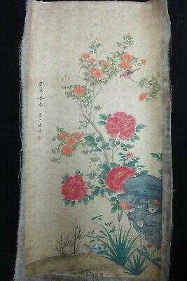 "Rare Old Large Chinese Hand Painting Flowers and Birds ""ZhangLu"" Marks"