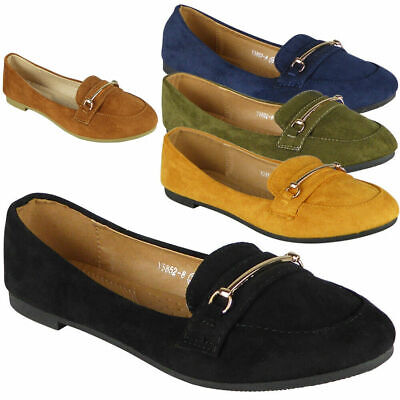 Womens Loafers Flats Ladies Faux Suede Slip On Office School Work Shoes Size