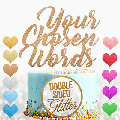 Personalised Cake Topper Any Word Name Customised Birthday Wedding Glitter Decor