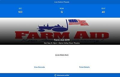 Farm Aid 2019 Ticket Alpine Valley Music Theatre East Troy 9/21 Sold Out concert