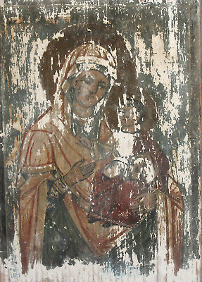 Antique hand painted tempera/wood icon Virgin Mary Christ Child