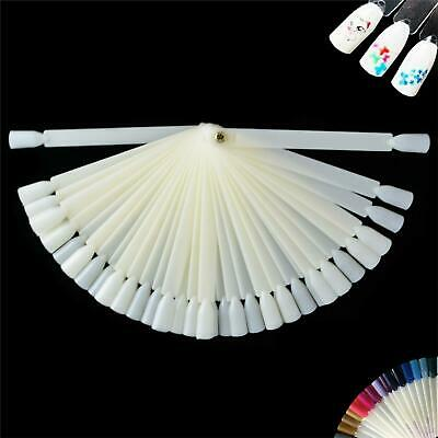 50X False Polish Nail Art Tips Sticks Display Fan Pop Colour Practice Tool