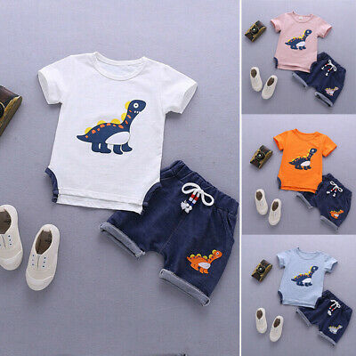 Toddler Kids Baby Boy Clothes Boys Outfits Sets Short T-Shirt + Pants 1-5 Years