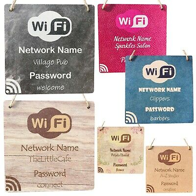 Personalised Wifi Sign Internet Password Hanging Plaque Home Pub Cafe Bar Shop
