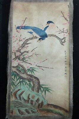 """Very Large Chinese Old Hand Painting Flowers and Birds """"MaJiaTong"""" Marks"""