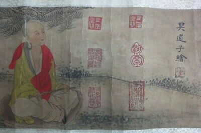 "Very Rare Long Old Chinese Scroll Hand Painting ""LuoHan"" Monks ""WuDaoZi"" Marks"