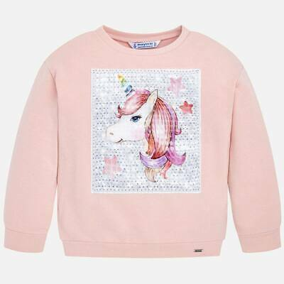 Mayoral Girls Long Sweatshirt with Unicorn decoration in Pink (04404) Aged 2-8