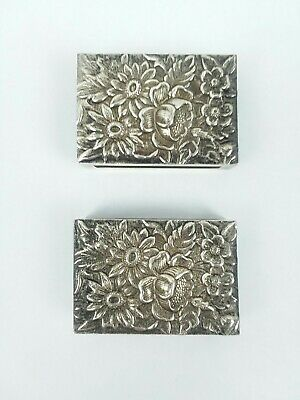 VINTAGE STERLING SILVER KIRK And SON MATCH BOOK BOX COVER ROSE REPOUSE ref 253