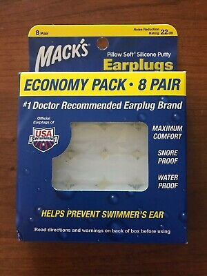 Mack's Pillow Soft Earplugs, silicone putty, White, Economy pack - 8 Pair