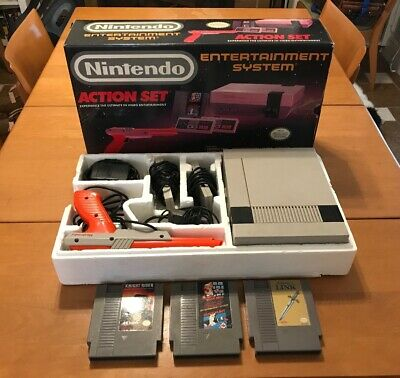 Original NES Nintendo Action Set Console With BOX + 3 Games AS IS READ