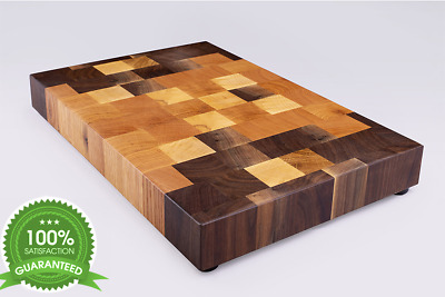 Butcher Block, Cutting Board, Walnut and Oak, End Grain, Chopping Board,Wood
