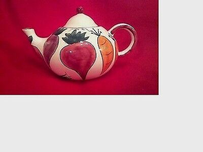 Lovely Antique Hand Painted Fruit Decorated Tea Pot