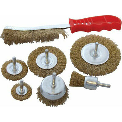 Brass Wire Wheel Cup Set Use Rotary Drill 7Pc Set Brass Wire Brush Angle Grinder