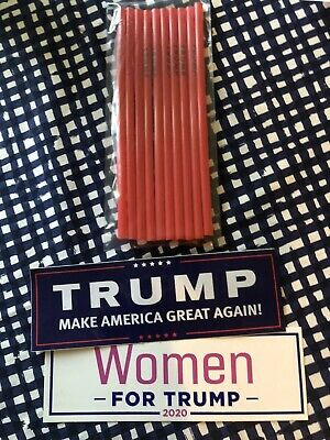 Official - Donald Trump Straws NEW Pack of 10 MAGA America USA + Bumper stickers